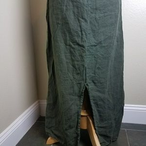 Johnny Was Dresses - Johnny Was green linen maxi dress button back M